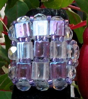 Violet  square Tila bead ring