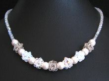 Crystal & white bead clusters necklace kit