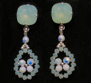 Opal green and white drop Earrings kit