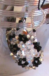 Black and silver bead snowflake hanging