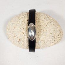 Bracelet cuir vachette noir fermoir magnétique ballon de rugby