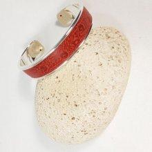 Bracelet jonc et cuir d'agneau coloris rouge