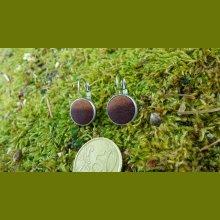 Boucles d'oreilles rondes avec bois exotique