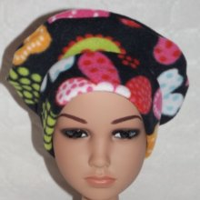 Bonnet polaire noir multicolore + noeud