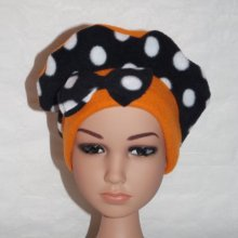 Bonnet polaire orange et noir à pois blancs + noeud