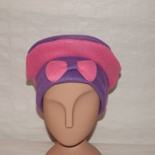 bonnet polaire violet liseret rose + noeud
