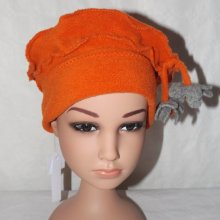 Bonnet polaire orange pompon gris