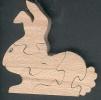 Puzzle  bois 5 pièces lapin Hetre fabrication artisanale