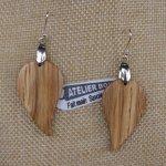 boucles d'oreilles feuille ronde en chêne bijoux éthique en bois, bijou nature ciré, fait main