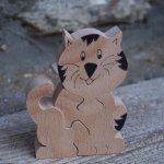 Puzzle bois 3 pièces chat, chaton Hetre, fabrication artisanale