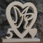 Coeur noce de bois, 5 ans de mariage, initiales personnalisées, idée cadeau noces de bois