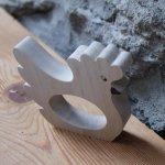 Rond de serviette poule a peindre bois massif fait main