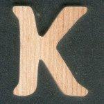 Lettre K en bois de frene hauteur 5 cm