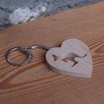 porte clef coeur et kangourou bois de hetre massif fabrication artisanale