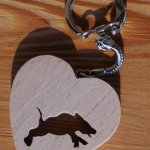 porte clef coeur et sanglier cadeau chasseur