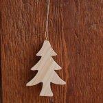 Sapin de Noel 10 cm en bois massif a peindre a suspendre, decoupé a la main