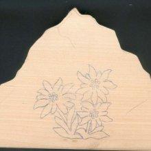 Bas relief à sculpter montagne et edelweiss, ébauche tilleul