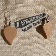 boucle d'oreille feuille ronde en bois de hetre bijoux éthique en bois, bijou nature ciré, fait main