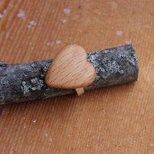 Bague cabochon en bois forme coeur Hetre largeur 19mm