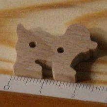 Bouton chien 25mm a decorer et a coudre, embellissement scrapbooking bois massif fait main