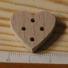 Bouton coeur 22mm a decorer et a coudre ou a coller, embellissemnt scrap fait main bois massif