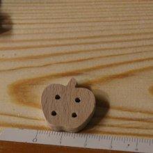 Bouton pomme 22mm bois massif embellissement scrapbooking fait main