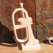 bugle bois massif ht 15 cm monté sur socledecoration mariage musique cadeau musicien fait main
