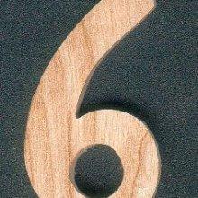 Chiffre 6 en bois 5 cm, bois de frene massif, fait main, chiffres a coller pour pendule, horloge