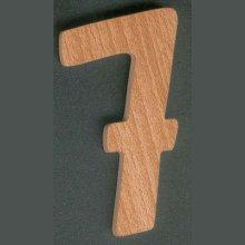 Chiffre 7 ht 8cm, bois de hêtre massif, découpé a la main