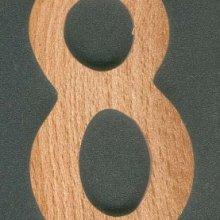 Chiffre 8 ht 8cm, marquage, bois massif fait main