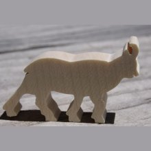 Figurine miniature chamois en bois à décorer theme montagne