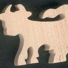 figurine miniature vache ep 3mm a peindre et a coller en bois d'erable massif decoupé a la main, embellissemnt scrap animaux ferme