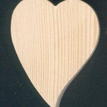 Coeur en bois 6 x 7.5 cm forme inclinée