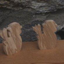 marque place bonhomme de neige en bois
