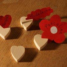 Marque place coeur en bois d'épicéa massif, réutilisable, à décorer, par 10, porte nom mariage