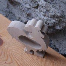 Rond de serviette coq fait main bois massif
