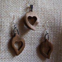 Parure coeur noyer, boucles d'oreilles et pendentif, cadeau noce de bois, saint valentin, fait main