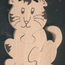 Puzzle  bois 3 pièces tigre Hetre massif, fabrication artisanale, animaux savane