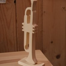 Trompette en bois long 20cm, épicéa, décoration musicale, cadeau trompettiste, fabrication artisanale
