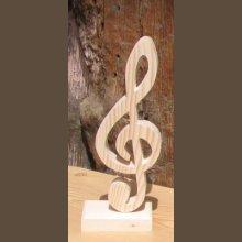 clef de sol en bois massif montée sur socle, décoration table mariage, cadeau musicien