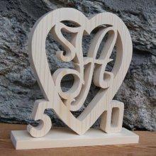 Coeur anniversaire, initiales et années personnalisées, bois épicéa massif fait main, deco table