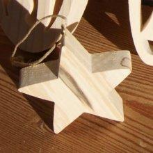Eoile 5x5 cm en bois de bouleau, decoration de noel