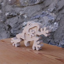 grenouille puzzle 2 pieces bois hetre massif fabrication artisanale, batracien