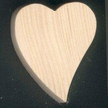 Coeur en bois 5 x 5.5 cm forme inclinée
