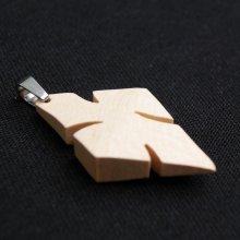 pendentif croix en érable ciré bijou éthique, fait main