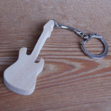 porte clef guitare electrique bois de merisier massif fait main cadeau musicien guitariste