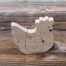 Puzzle bois  5 pièces poule et son poussin hetre massif, fait main