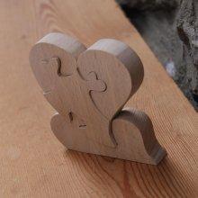 puzzle coeur 4 pieces en bois, cadeau noce de bois