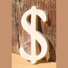signe dollar ht 5cm, bois massif fait main a coller