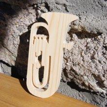 tuba en bois massif ht 20 cm decoration theme musique fait main cadeau musicien tubiste
